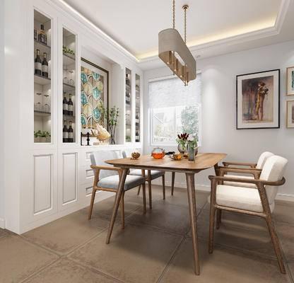 餐厅, 酒柜, 餐桌椅, 餐桌, 椅子, 吊灯, 装饰画