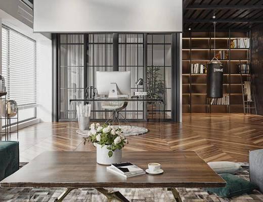 现代客厅, 多人沙发, 沙发凳, 办公桌, 单椅, 沙包, 摆件