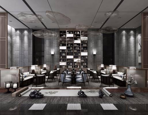 会所, 单人沙发, 多人沙发, 装饰柜, 壁灯, 单人椅, 吊灯, 装饰画, 挂画, 台灯, 摆件, 装饰品, 陈设品, 中式