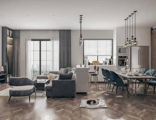 沙发组合, 桌椅组合, 吊灯, 电视柜
