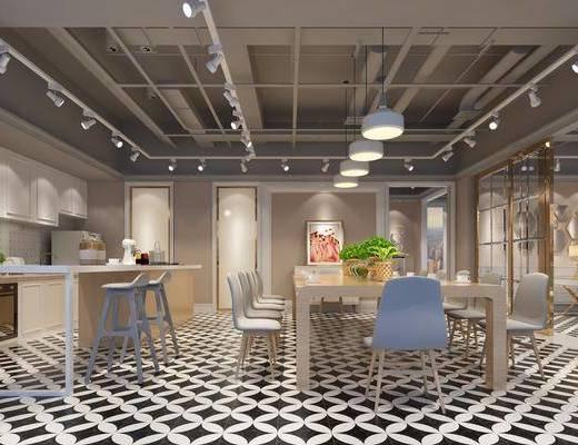 办公室, 办公桌, 办公椅, 吧台, 吧椅, 单人椅, 电脑桌, 单人沙发, 台灯, 茶几, 盆栽, 绿植植物, 现代