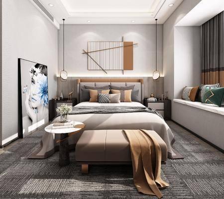 双人床, 床尾踏, 装饰画, 床头柜, 衣柜
