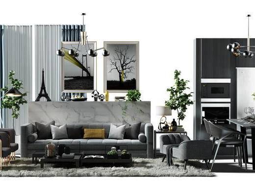 沙发组, 窗帘, 沙发椅, 画, 装饰画, 组合画, 挂画, 吊灯, 餐桌椅组合, 餐桌, 桌椅组合