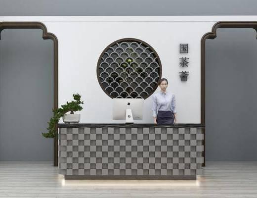 接待台, 前台, 人物, 收银台, 盆栽, 绿植植物, 新中式