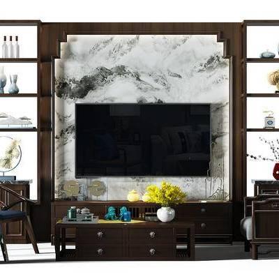 电视墙, 装饰柜, 椅子, 茶几, 茶几组合, 凳子, 电视柜, 中式, 新中式, 现代
