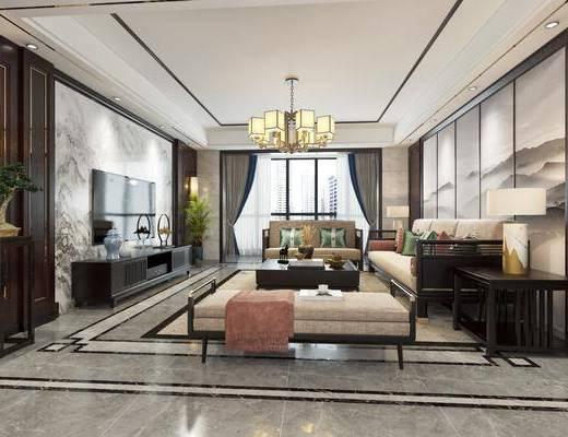 新中式客厅餐厅, 新中式, 客厅, 餐厅, 中式餐桌椅, 中式吊灯, 中式沙发, 中式电视柜