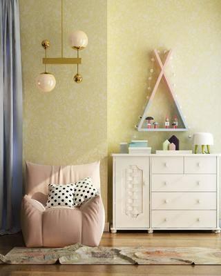 北欧装饰柜, 北欧, 装饰柜, 懒人沙发, 玩偶, 吊灯