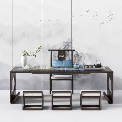 桌椅组合, 茶桌, 单人椅, 凳子, 茶具, 花瓶, 摆件组合, 新中式