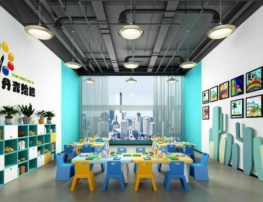 幼兒園, 桌子, 單人椅, 裝飾畫組合, 擺件, 裝飾品, 陳設品, 吊燈, 盆栽, 綠植植物, 工業風