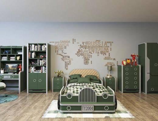 床具组合, 儿童床, 衣柜, 摆件组合, 现代床具组合
