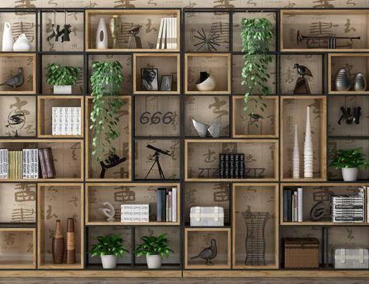 工业风置物架, 置物架, 装饰柜架