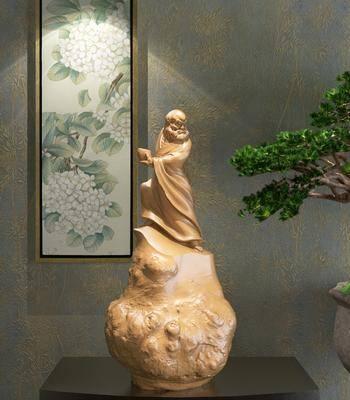 摆件组合, 佛像, 新中式摆件组合, 植物, 盆栽, 挂画, 新中式