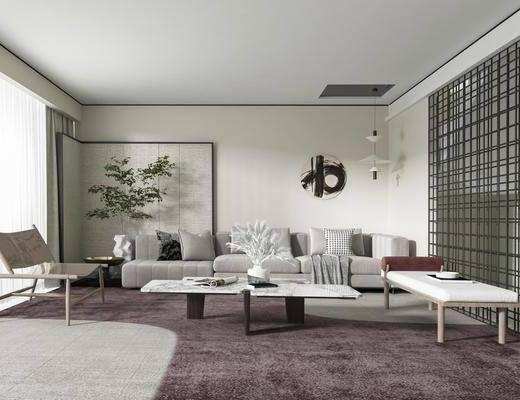 新中式客厅, 沙发, 茶几
