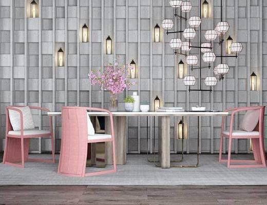 桌椅组合, 餐桌, 餐椅, 单人椅, 餐具, 吊灯, 花瓶花卉, 壁灯, 摆件, 装饰品, 陈设品, 现代
