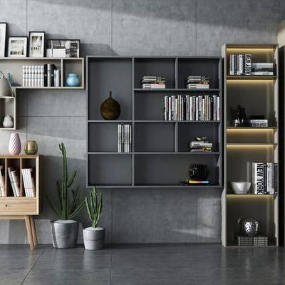 现代书柜组合, 现代, 书柜, 装饰柜, 仙人掌, 摆件, 书籍, 落地灯