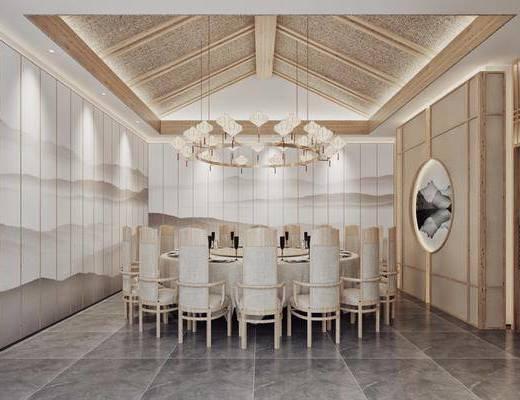 酒店包厢, 桌椅组合, 餐桌, 餐椅, 单人椅, 墙饰, 吊灯, 吊灯组合, 新中式