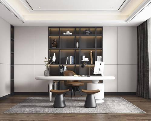 书桌, 书柜, 桌椅组合, 花瓶