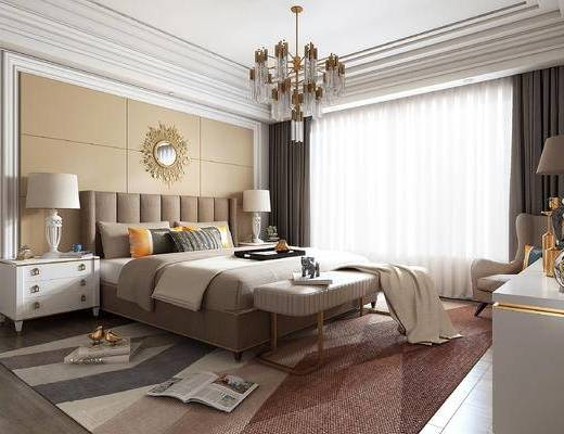 欧式, 卧室, 灯具, 床榻, 墙饰, 双人床, 摆件