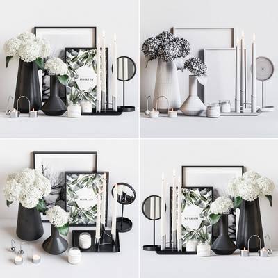 现代, 花瓶, 蜡烛台, 摆画, 摆件