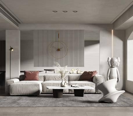 沙发组合, 茶几, 摆件组合, 落地灯, 墙饰