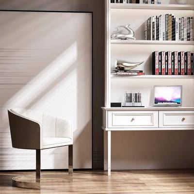 桌椅组合, 书桌, 单椅, 椅子, 书架, 书本, 书籍, 装饰画, 现代