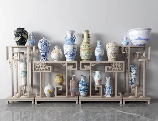 花瓶, 瓷器, 摆件组合