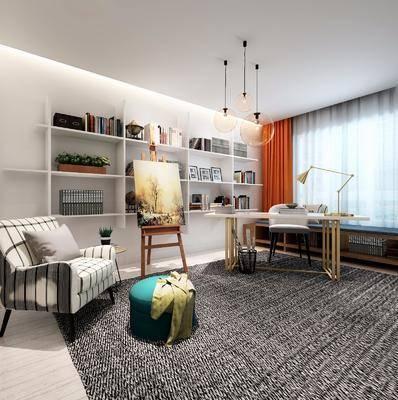 书桌, 单人沙发, 台灯, 书房, 摆件, 吊灯, 装饰画, 挂画, 沙发脚踏, 现代