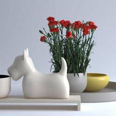 花盆, 花, 现代