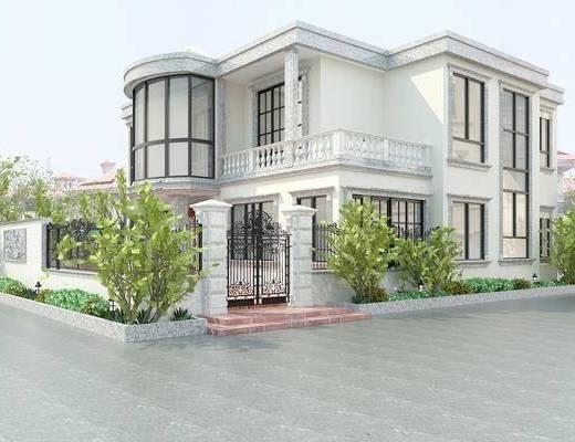 户外建筑, 别墅, 现代别墅, 植物, 花园, 绿植, 现代