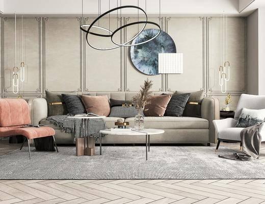 现代, 客厅, 多人沙发, 吊灯, 休闲椅, 摆件
