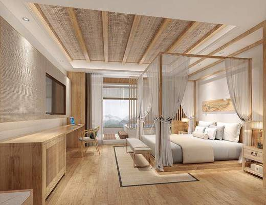 民宿客房, 床具组合, 浴缸组合, 桌椅组合, 日式