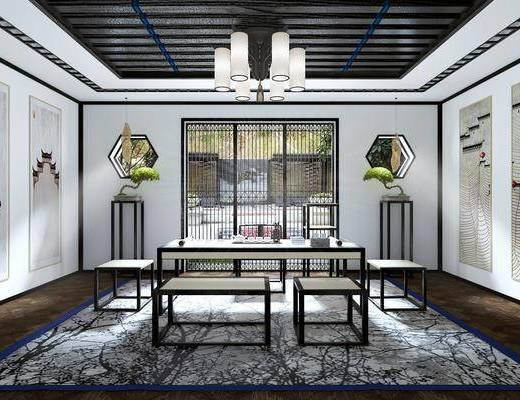 茶室, 茶桌, 凳子, 单人椅, 茶具, 装饰画, 吊灯, 中式