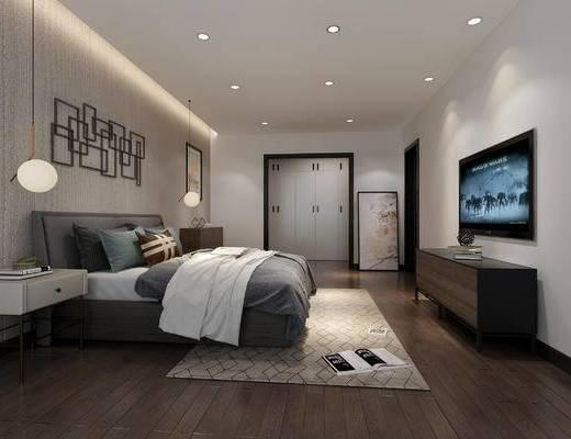 现代, 卧室, 双人床, 墙饰, 装饰柜