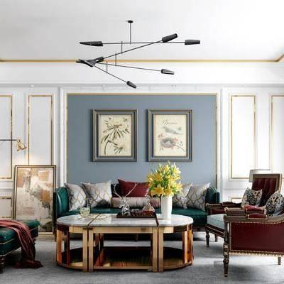 茶几, 多人沙发, 装饰画, 单人沙发, 沙发榻, 美式