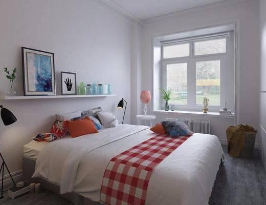北欧卧室, 北欧床具, 现代落地灯, 置物架, 摆件, 装饰画, 植物