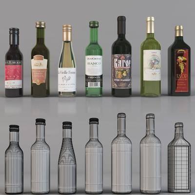 现代, 酒瓶, 酒杯