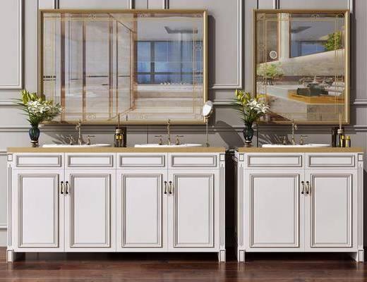 洗手台, 洗面盆, 洗手池, 卫浴柜, 镜子