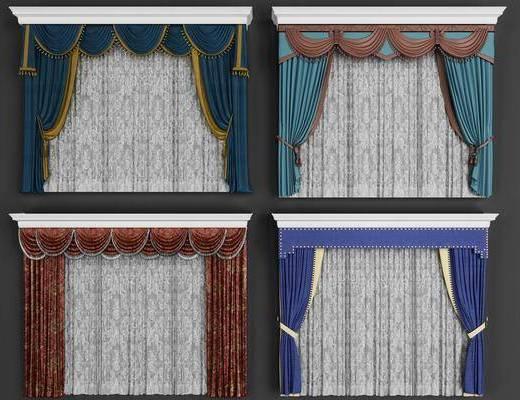 窗帘, 布艺窗帘, 窗帘组合