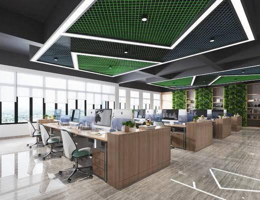 办公室, 天花, 电脑桌, 墙饰