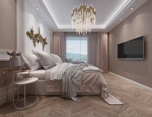 臥室, 床具組合, 吊燈, 墻飾, 現代