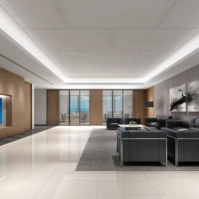 现代, 办公室, 接待, 大厅, 大堂, 沙发, 挂画, 茶几, 摆件, 办公桌, 办公椅, 单椅, 桌子