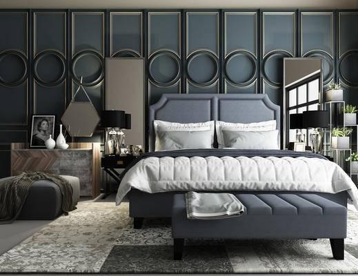 法式卧室, 床, 床头柜组合