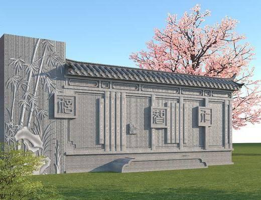 园林景观小品, 文化雕塑墙, 景观墙, 古建筑