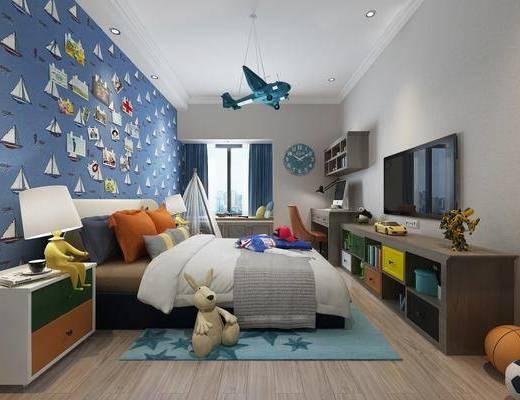 儿童房, 男孩房, 双人床, 床头柜, 台灯, 电视柜, 装饰柜, 边柜, 书桌, 单人椅, 帐篷, 玩具, 现代