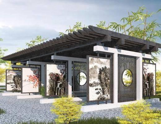 新中式, 园林景观, 长廊, 花架