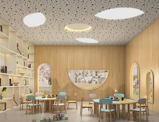 幼兒園, 教室, 桌椅組合