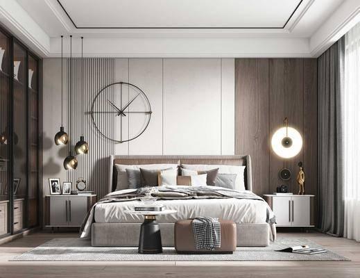 现代卧室, 双人床, 装饰品, 床头柜