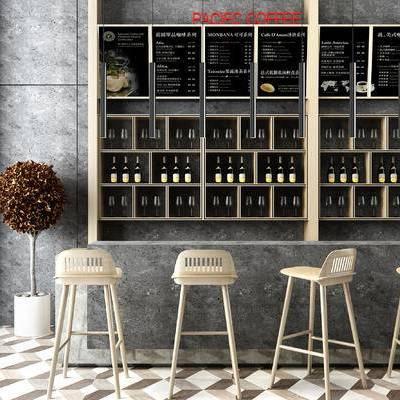 现代北欧吧椅吧台, 红酒, 植物, 吧台, 椅子, 酒柜