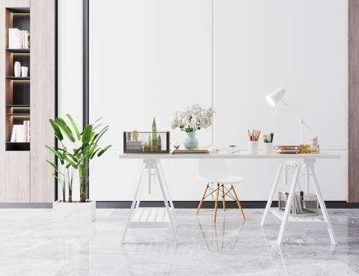书桌, 桌椅组合, 摆件组合, 盆栽植物
