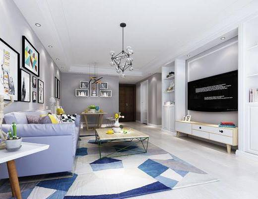 现代北欧客厅, 现代客厅, 北欧客厅, 现代, 餐桌椅, 沙发组合, 吊灯